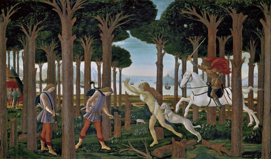 Sandro Botticelli, The Story of Nastagio Degli Onesti, part one